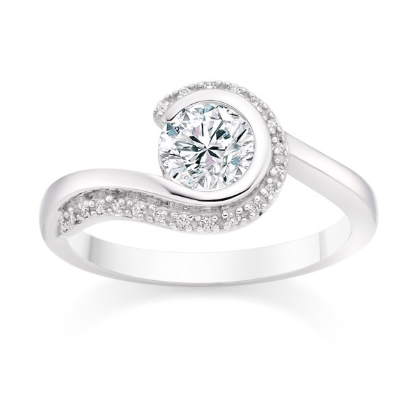 Round Cut 0.65 Carat Side Stones  Engagement Ring in Platinum twirl
