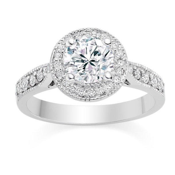 Round Cut 0.75 Carat Halo  Engagement Ring with Side Stones in 18k White Gold b
