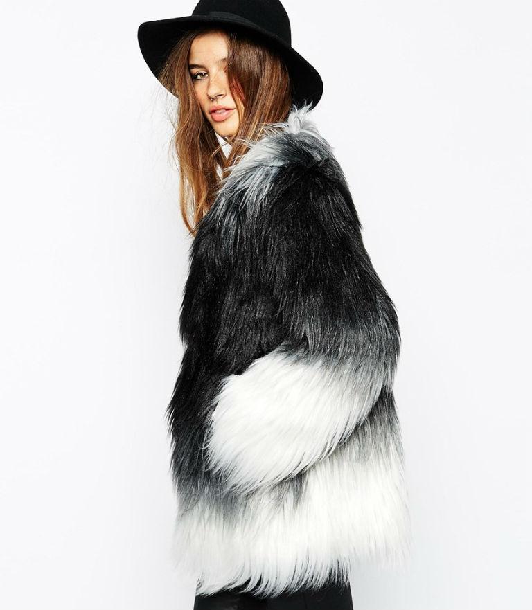 1 - Story of Lola Dip Dye Fur Coat at ASOS