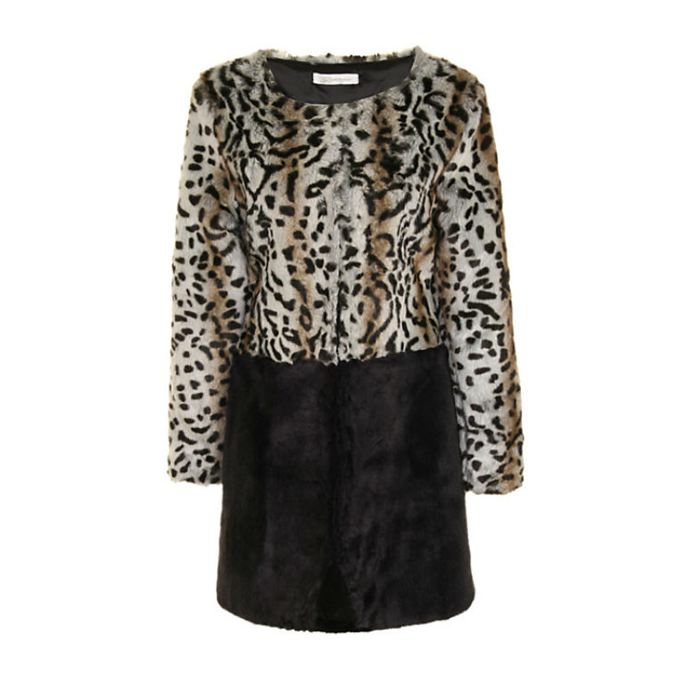 8 - True Decadence Contrast Faux Fur Coat in Animal Print £80