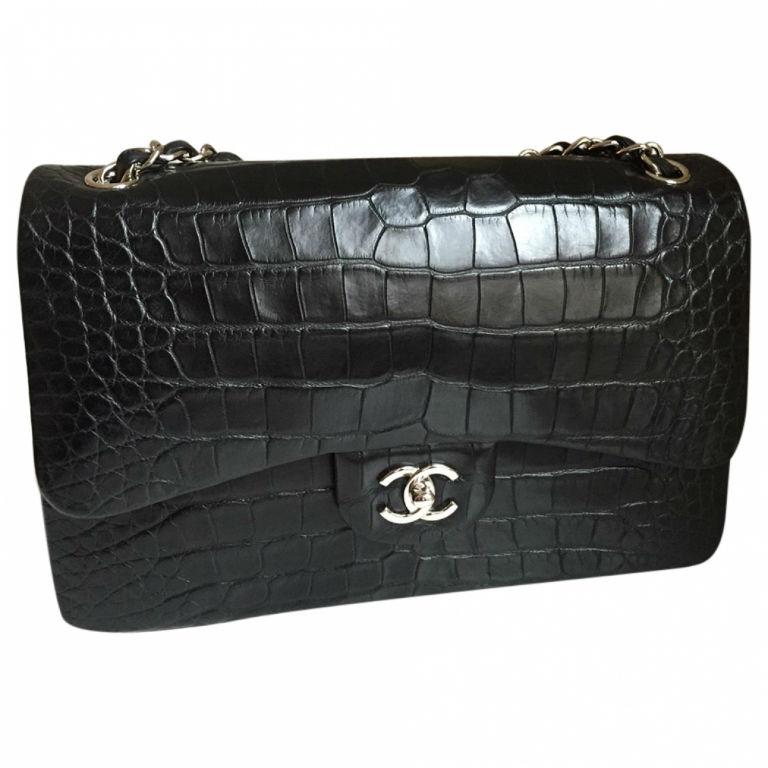 Black Exotic Leather Bag