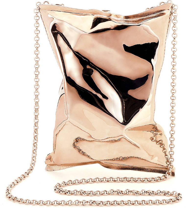 Crisp packet 18ct rose-gold clutch
